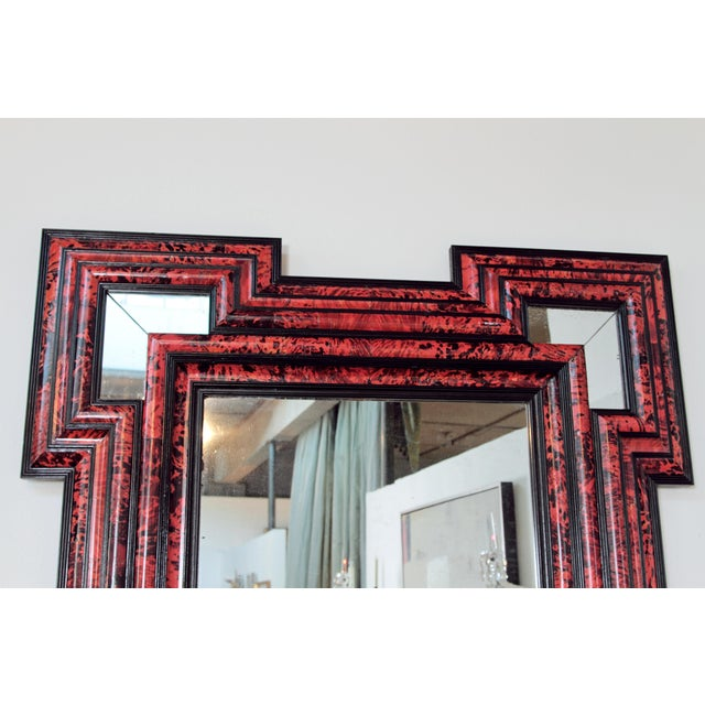 Large Scale Pair of Exceptional Dutch Baroque-Style Red Tortoise Mirrors For Sale - Image 10 of 13