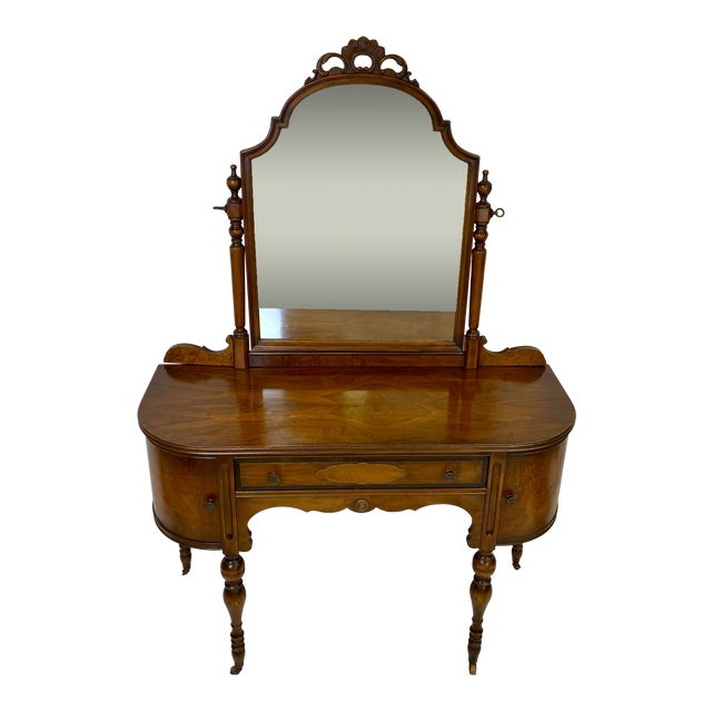 Antique Walnut English Art Deco Vanity With Mirror For Sale
