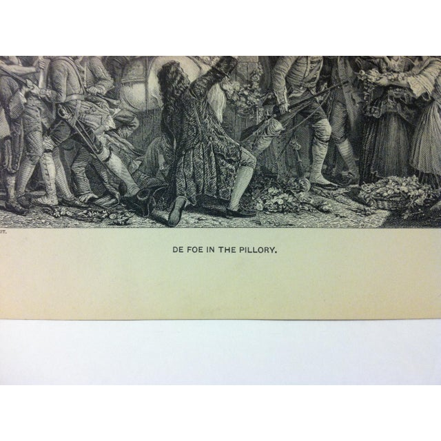 "English Antique Black & White Print on Paper, ""Da Foe in the Pillory"", Circa 1880 For Sale - Image 3 of 4"