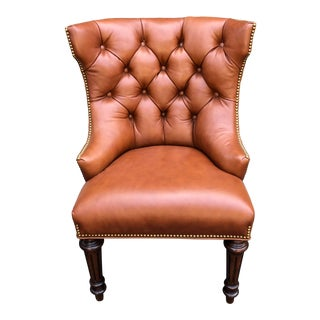 Michael Smith Tufted Leather Wingback Chair For Sale