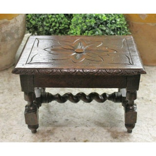 Antique English Barley Twist Foot Stool Bench Kettle Stand Carved Oak Preview