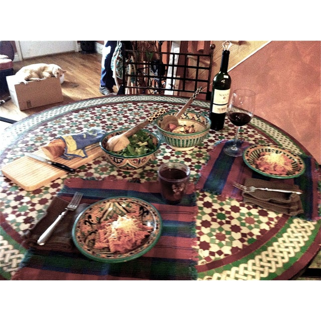 """Moroccan Zellij Red, Green, Yellow and White Mosaic Tile 52"""" Round Table & 4 Wrought Iron Arm Chairs For Sale In Las Vegas - Image 6 of 13"""