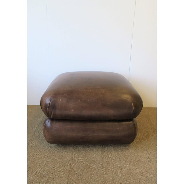 Modern Postmodern Brown Leather Ottoman by George Smith, Ca. 1990s For Sale - Image 3 of 11