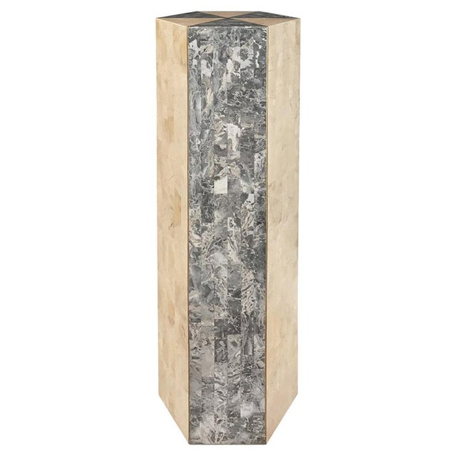 1970s 1970s Tessellated Light and Dark Stone Hexagonal Column With Brass Inlay For Sale - Image 5 of 5