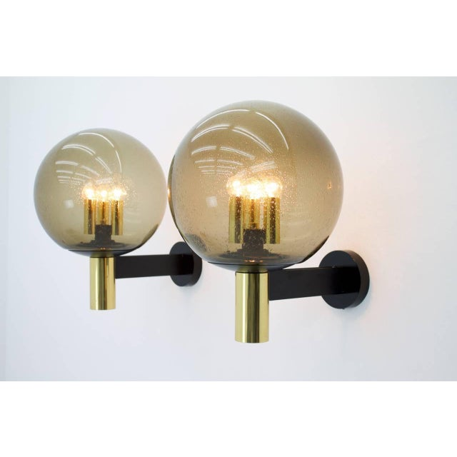 Glashütte Limburg Limburg Wall Lights With Smoked Glass and Brass 1970s - Four Available For Sale - Image 4 of 8