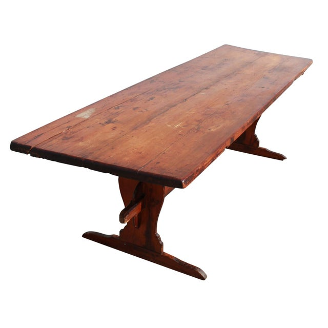 Antique Country Pine Farm Table For Sale - Image 5 of 13