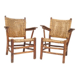 Old Hickory Woven Pine Arm Chairs For Sale