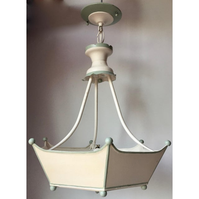 Vintage Italian Tole Painted Chandelier For Sale - Image 9 of 10