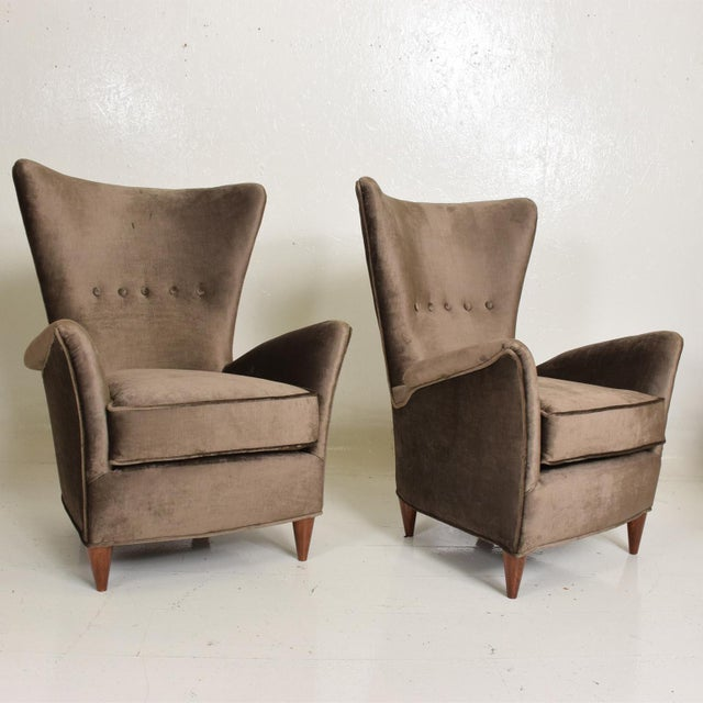 Mid Century Modern Pair of Arm Chairs by Gio Ponti for Bristol Hotel in Merano Italy For Sale - Image 12 of 12