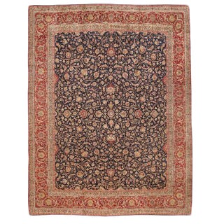 Antique Extremely Finely Woven Oversize Persian Lavar Kerman Carpet For Sale