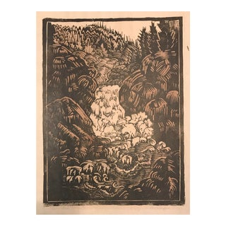 1931 Early Boulder Falls Colorado Woodblock Print For Sale