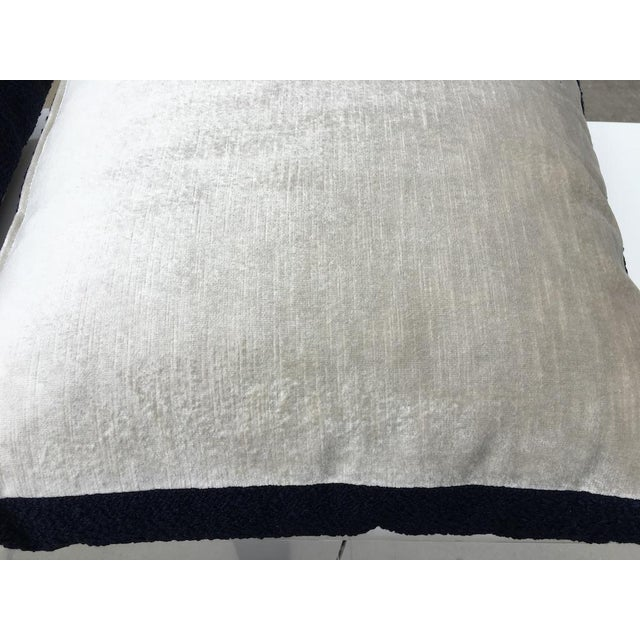 Custom Navy Curly Boucle Pillows - A Pair For Sale - Image 4 of 8