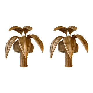 1980s Rattan Palm Tree Sconces, France - a Pair EU Wired
