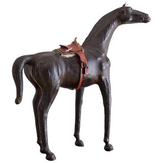Midcentury Leather Thoroughbred Horse Sculpture For Sale
