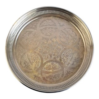 Vintage Handmade Turkish Islamic Geometric Style Design Silver Metal Serving Tray For Sale