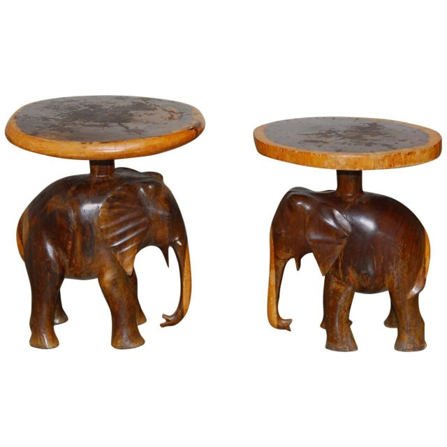 Carved Elephant Drink Tables - a Pair For Sale