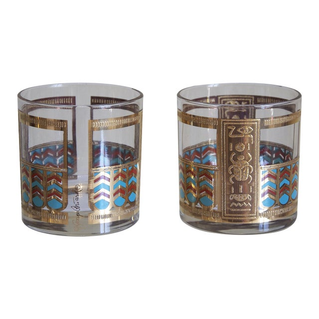 Georges Briard Egyptian Rocks Glasses - Set of 6 For Sale