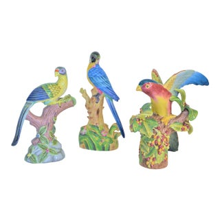 1980 Chinese Export Exotic Bird Figurines - Set of 3 For Sale