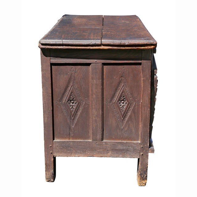 Brown Charles II Oak Coffer For Sale - Image 8 of 12