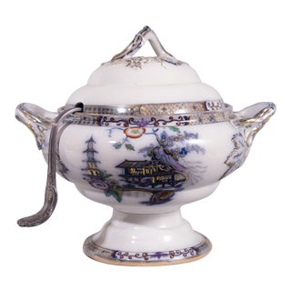 19th C Flo Blue English Tureen For Sale