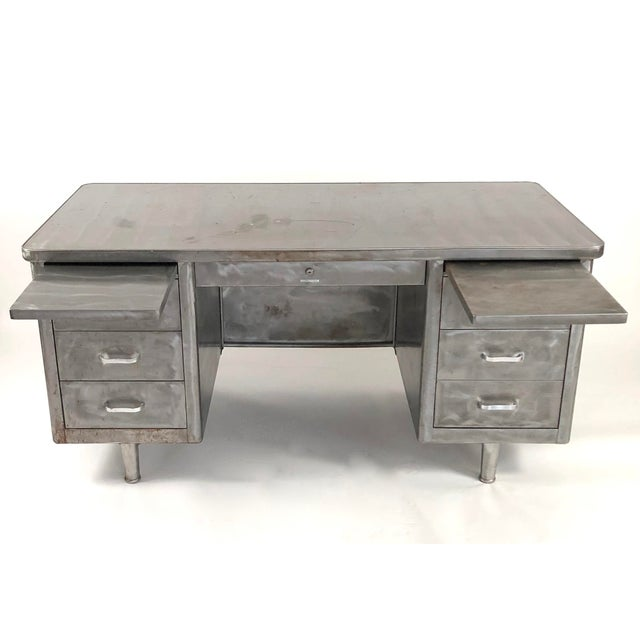 Industrial Vintage Steelcase Tanker Desk With Brushed Steel Surface For Sale - Image 3 of 12