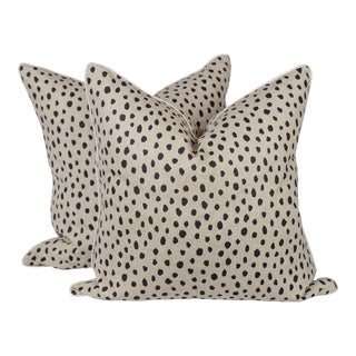 Cream Linen Tanzania Spotted Pillows, a Pair For Sale