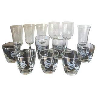 "Monogrammed ""S"" Lowball Champagne Glasses - 13 For Sale"