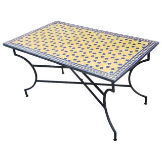 Moroccan Rectangular Yellow/Blue Mosaic Dining Table For Sale