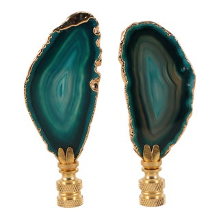 Teal Gold Plated Agate Slice Lamp Finials - a Pair For Sale