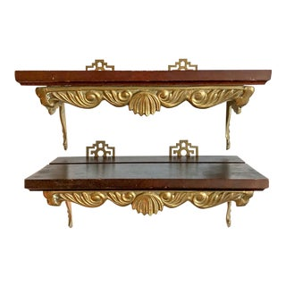 Chinoiserie Brass & Wood Shelf Brackets, Pair For Sale