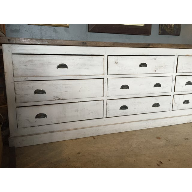 Vintage Weathered White Buffet or Triple Dresser - Image 4 of 11