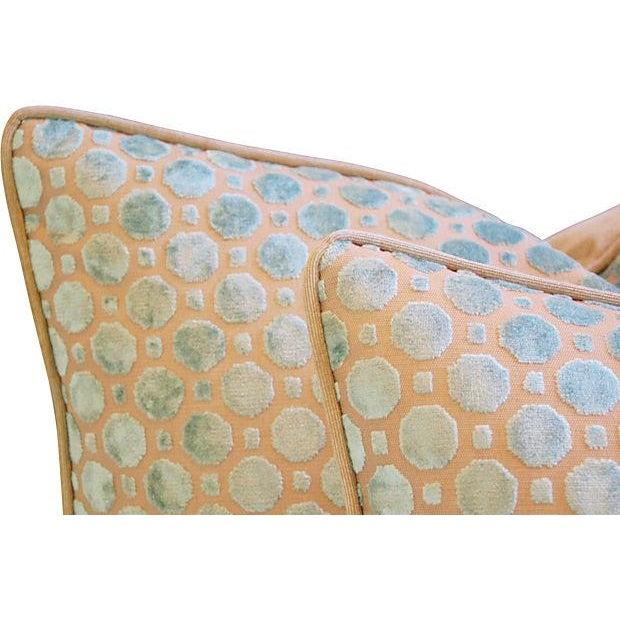 Aqua Blue Velvet Geometric Pillows - Pair - Image 4 of 7