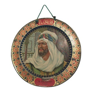 El Cafeto Metal Hanging Advertising Plate With a Moorish Prince For Sale