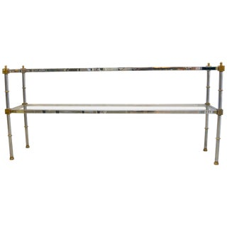 Mid-Century Modern Console Table in Brass Chrome and Glass For Sale