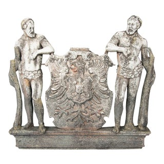 Cast Zinc Crest Bearing The Arms Of The German Empire With Two Herculean Figures For Sale
