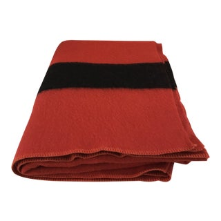 1940's Polar Star by Golden Dawn Red Wool Striped Blanket For Sale