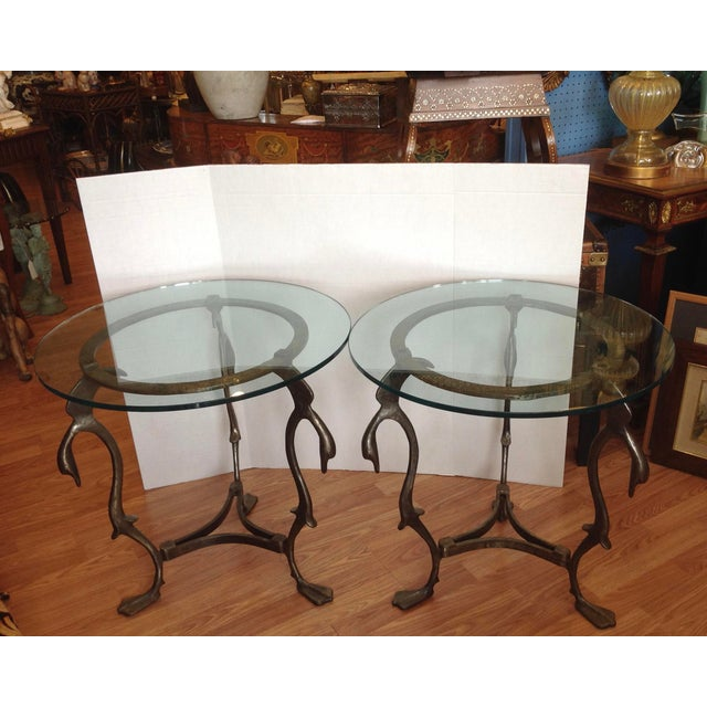 Metal Pair of Midcentury French Steel Swan Motif Tables For Sale - Image 7 of 7