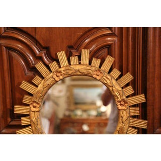Mid-20th Century French Carved Giltwood Round Sunburst Mirror With Floral Decor Preview