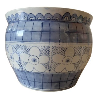 Blue and White Floral Planter For Sale