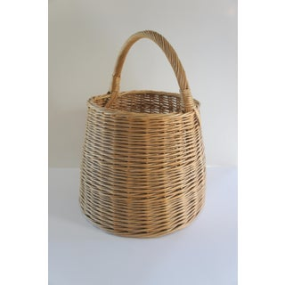 Extra Large Vintage Handwoven Rattan Round Basket With Handle Preview