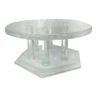 Large Vintage Modernist Thick Two-Tiered Translucent Lucite Display Stand For Sale