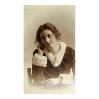"""Circa 1910 """"Young Girl in Fur Trimmed Velvet Dress"""" Portrait Photo For Sale"""