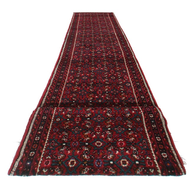 Vintage Hand Knotted Wool Persian Hosenabad Runner