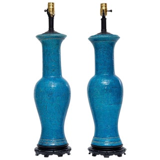 Tall Bitossi Lamps by Aldo Londi-A Pair For Sale