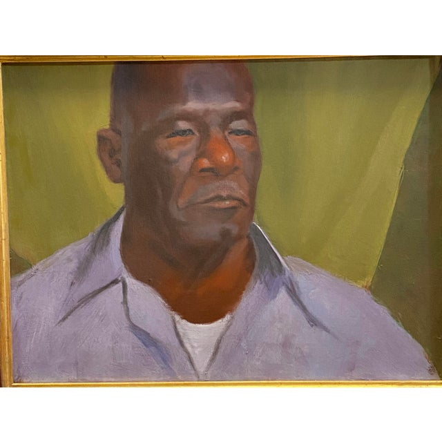 Vintage Oil on Canvas Portrait of an African American Man Framed Painting Typical condition for age. No noticed repairs....