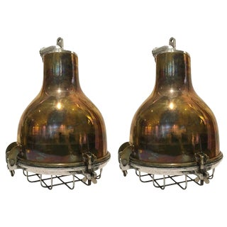 Pair of Ship's Brass Cargo Lights With Aluminium Cage, 1970s For Sale