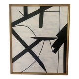 "Image of ""Black and White"" Abstract Framed Painting For Sale"