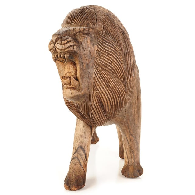 "Roaring Lion Antiques 23"" Carved Wood Sculpture - Image 3 of 9"
