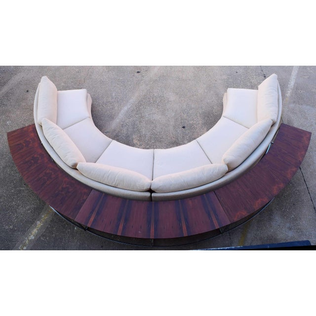 Milo Baughman Semi-Circular Sofa With Rosewood Tables For Sale - Image 13 of 13