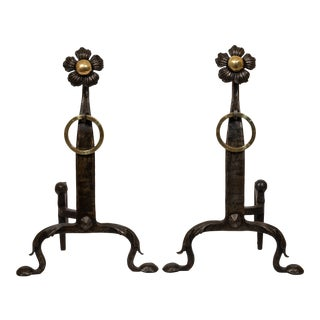Antique 1890 Iron and Brass Sun Flower Andirons - a Pair For Sale